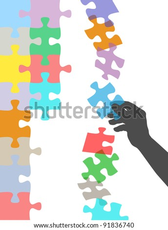 Person holds in hand missing piece to find solution to falling puzzle - stock vector