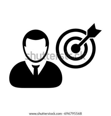 Person Icon Vector With Target Bullseye Goal in Dartboard for Business Development in Glyph 