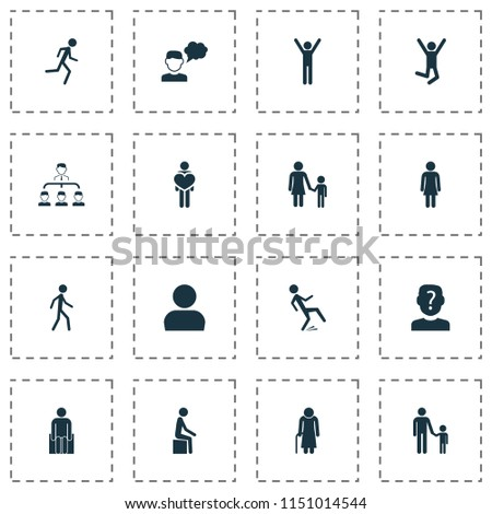 Person icons set with human, subordination, mother with child and other feeling elements. Isolated vector illustration person icons.