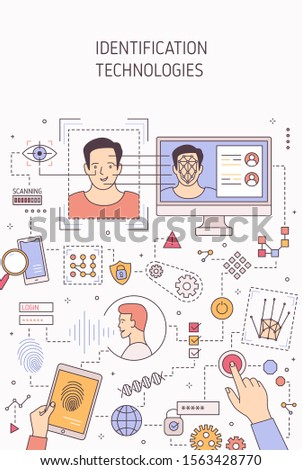 Person identification technologies vector banner template. Face recognition, voice authentication and retina scanning. Fingerprints analysis and DNA testing. Biometric gadgets access permission.
