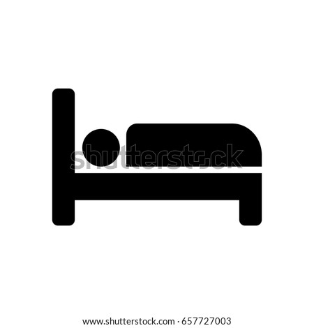 Person in bed, hotel icon.
