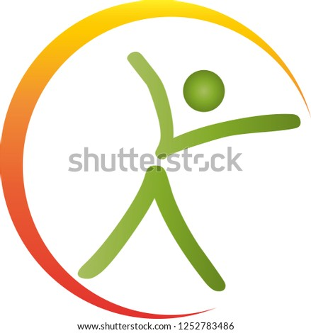 person in motion and sun logo