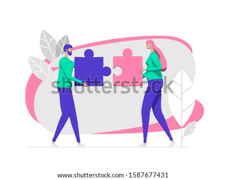Person people man and woman connect jigsaw business puzzle flat background concept vector illustration. Cooperation businessman teamwork team. Vector illustration flat design style.