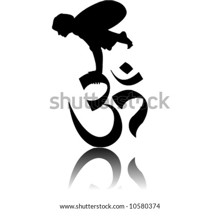 person performing bakasana crane pose on om aum vector