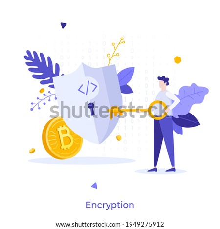 Person putting key into keyhole on shield protecting golden Bitcoin. Concept of encryption, encoding digital currency data, cryptocurrency security and protection. Modern flat vector illustration. Stock foto ©