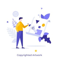 Person putting stamp on image or painting. Concept of copyrighted artwork, law protection of intellectual property or artist's rights on creative work. Modern flat vector illustration for banner.