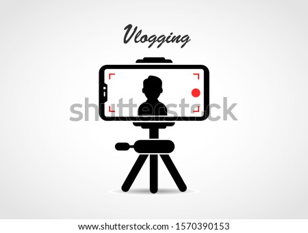 Person recording vlog using mobile with tripod. Vlogging concept vector design.