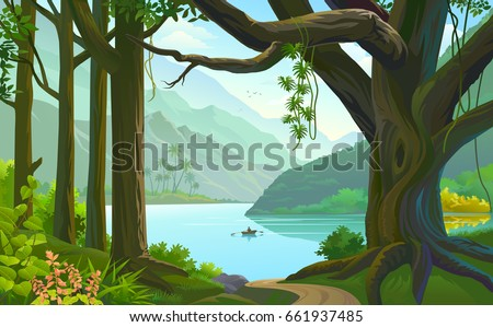 Person rowing a boat in a calm river across a vast green forest