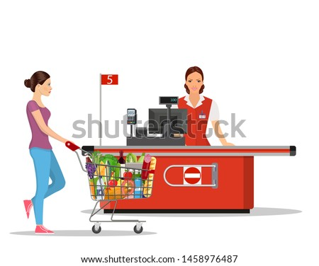 Person Shopping in supermarket. woman cashier in supermarket. Cash register, Cashier and buyer with cart. Vector illustration in flat style