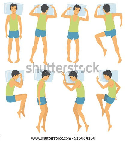 Person sleep positioning, man in different sleeping poses in bed. Vector illustration. Male position sleep and comfortable night pose for sleep