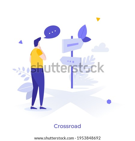 Person standing at crossroad and looking at road guide post. Concept of finding right direction, way or route in business, making choice or decision. Modern flat vector illustration for banner. Foto stock ©