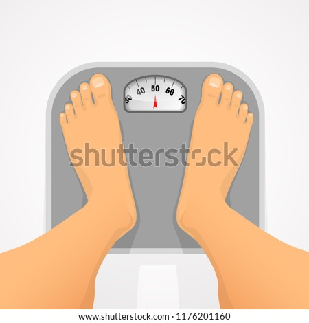 Person standing on the scales. Weight control and diet, weight gain or weight loss