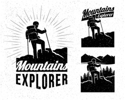 Person standing on top of the mountain peak, looking out into distance. Hiking label. Outdoor adventure inspirational vector logo.