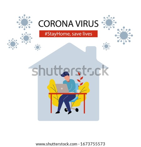 Person stay at home working to avoid corona virus danger. Self quarantine. Flat style design vector isolated on white  Stock photo ©
