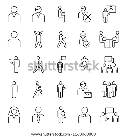 Person symbols, basic outline vector icons collection. Male, female and group of people basic positions. User profile symbols set with simple activities and postures.