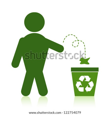 Person throwing recyclable waste into a recycle bin.