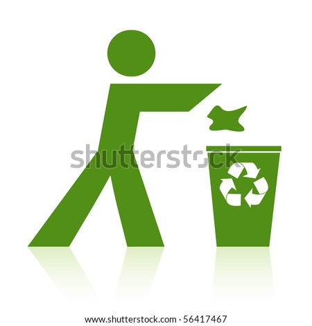 Person throwing rubbish into a recycle bin. - stock vector