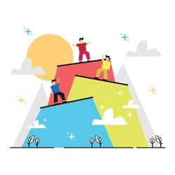 Person top achievement success progress illustration design. Goal mountain peak success illustration concept design.