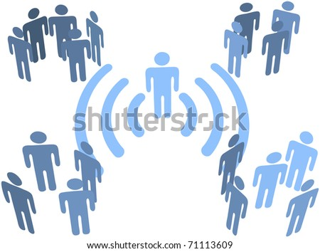 Person uses wifi or other wireless connection to communicate to groups of audiences - stock vector