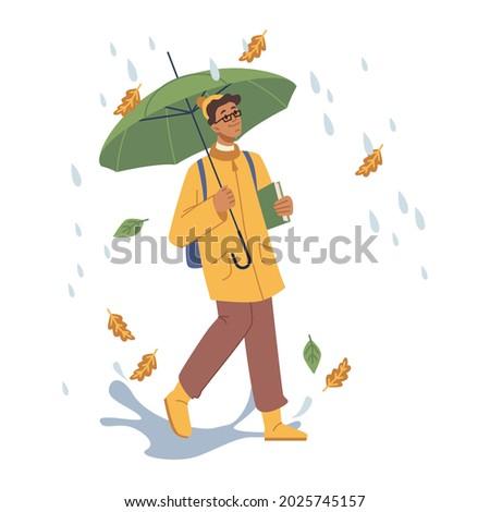 person walking under rain in