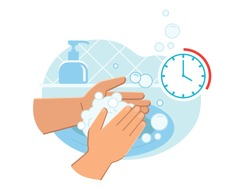 Person washing hands in sink carefully with soap foam from dispenser for 20-30 seconds to prevent coronavirus infection close up. Everyday hygiene essentials. Safety during COVID-19 pandemia.