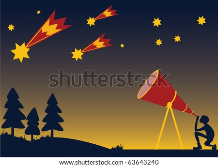 person watching meteors in night sky through telescope