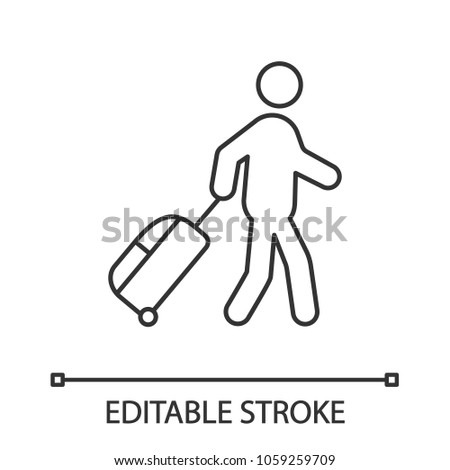 Person with baggage linear icon. Thin line illustration. Tourist, traveler. Passenger. Contour symbol. Vector isolated outline drawing. Editable stroke