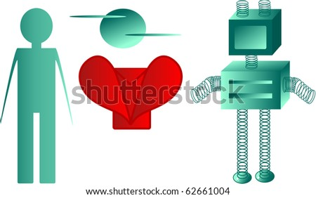person with computer, robot, heart and letter