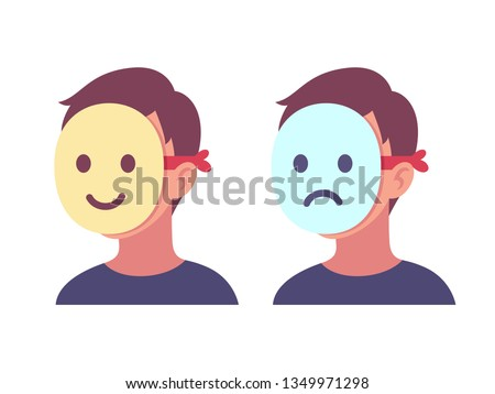 person with happy and sad mask