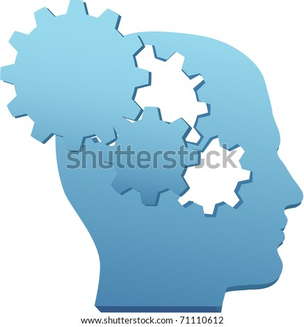 Person with inventive mind thinks technology thoughts in gear cutouts - stock vector