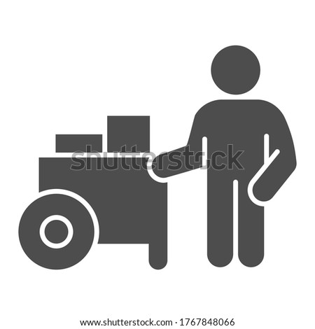 Person with street cart solid icon, Street food concept, Hot dog shop and salesman sign on white background, Street seller with stall icon in glyph style for mobile, web. Vector graphics Foto d'archivio ©