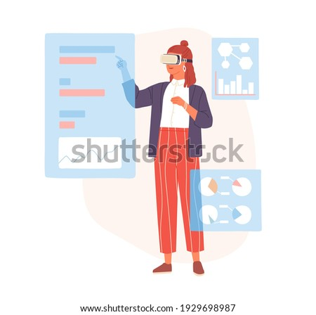Person working with business data in virtual reality using VR headset. Modern woman in futuristic glasses. Colored flat cartoon vector illustration of people and AR isolated on white background
