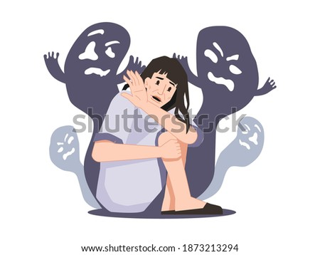 Personage suffering from schizophrenia and hallucinations seeing ghosts and creatures, spirits and shades. Mental disorder and diseases, psychopath or schizophrenic person. Vector in flat style Stockfoto ©
