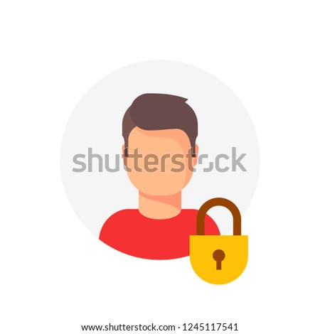 Personal account private protection or locked vector icon, flat cartoon person profile protected with closed lock, blocked user account, private user icon, safe or secure data, access denied Foto d'archivio ©