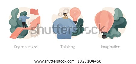 Personal and professional growth abstract concept vector illustration set. Key to success, thinking and imagination, brainstorming, idea and fantasy, motivation and inspiration abstract metaphor. Foto stock ©