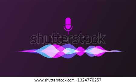 Personal assistant and voice recognition concept gradient logo. Vector illustration of soundwave intelligent technologies.