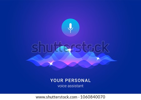 Personal assistant and voice recognition concept gradient vector illustration of soundwave intelligent technologies. Microphone button with bright voice and sound imitation waves