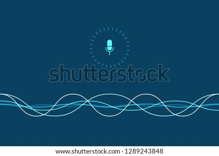 Personal assistant and voice recognition concept. Vector illustration of soundwave intelligent technologies.