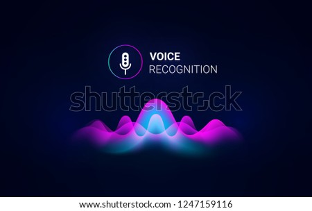 Personal assistant voice recognition concept. Artificial intelligence technologies. Sound wave logo concept for voice recognition application, website background or home smart system assistant. Vector