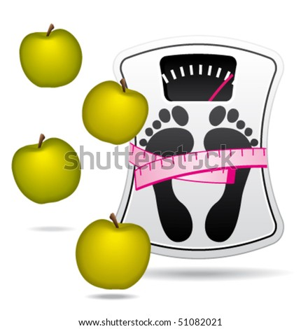 Personal bathroom scale with apples for diet or healthcare concept. Vector illustration ll.
