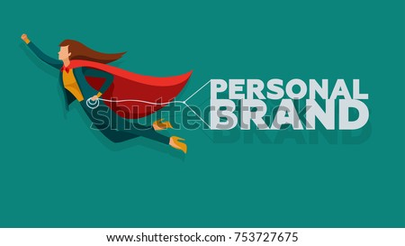 Personal brand concept vector illustration. Business woman in the super hero cloak grow up in career.