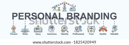 Personal branding banner web icon for business and manager, vision, passion, story telling, awareness, CEO, valuable, quality and Identity. Flat cartoon vector infographic. Foto stock ©