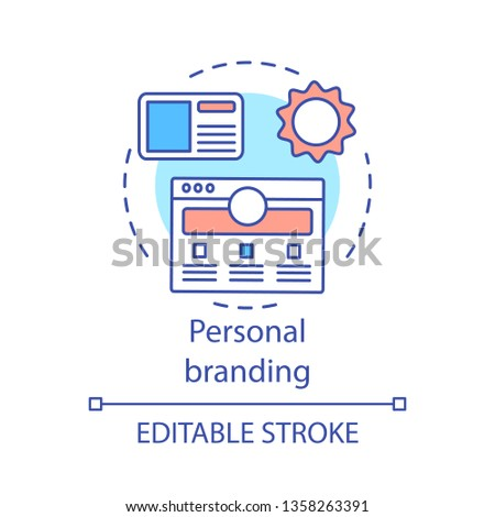 Personal branding concept icon. Brand strategy. Self-positioning idea thin line illustration. People marketing careers as brands. Сorporate image. Vector isolated outline drawing. Editable stroke
