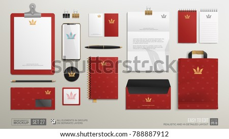 Personal Branding Stationery mock-up set with Golden Crown logo icon on burgundy background. Corporate Brand Identity Luxury style Mockup set. Business mockup of golden Crown logo symbol template