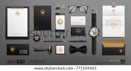 Personal Branding Stationery mock-up set with Golden Lion logo. Luxury style Corporate Brand Identity Mockup set. Business mockup of gold logo template on black background