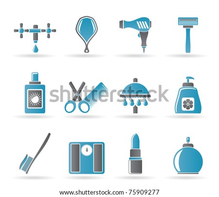 Personal care and cosmetics  icons - vector icon set - stock vector