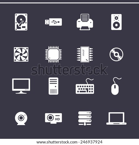 Personal computer component icons. Computer hardware. Vector icons