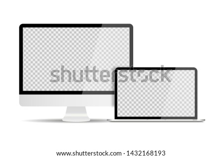 Personal computer with laptop in trendy realistic design with shadows. Set devices. Transparent screen mock up isolated. EPS 10