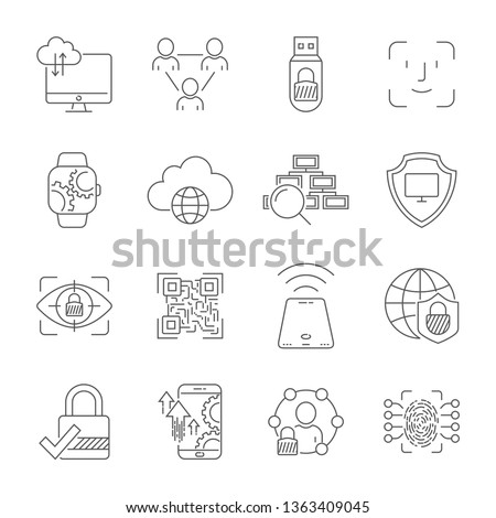 Personal data protection icons, secure account login, user interface login, face recognition, site access authorization, online protection and security. Editable Stroke. EPS 10