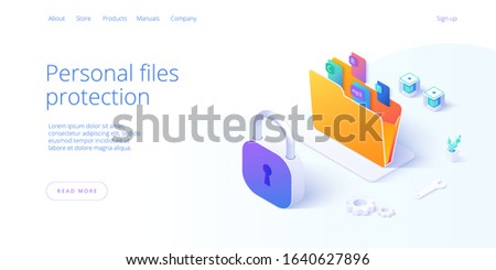 Personal data security in isometric vector illustration. Online file server protection system concept with folder and lock. Secure information transfer background template for web banner.